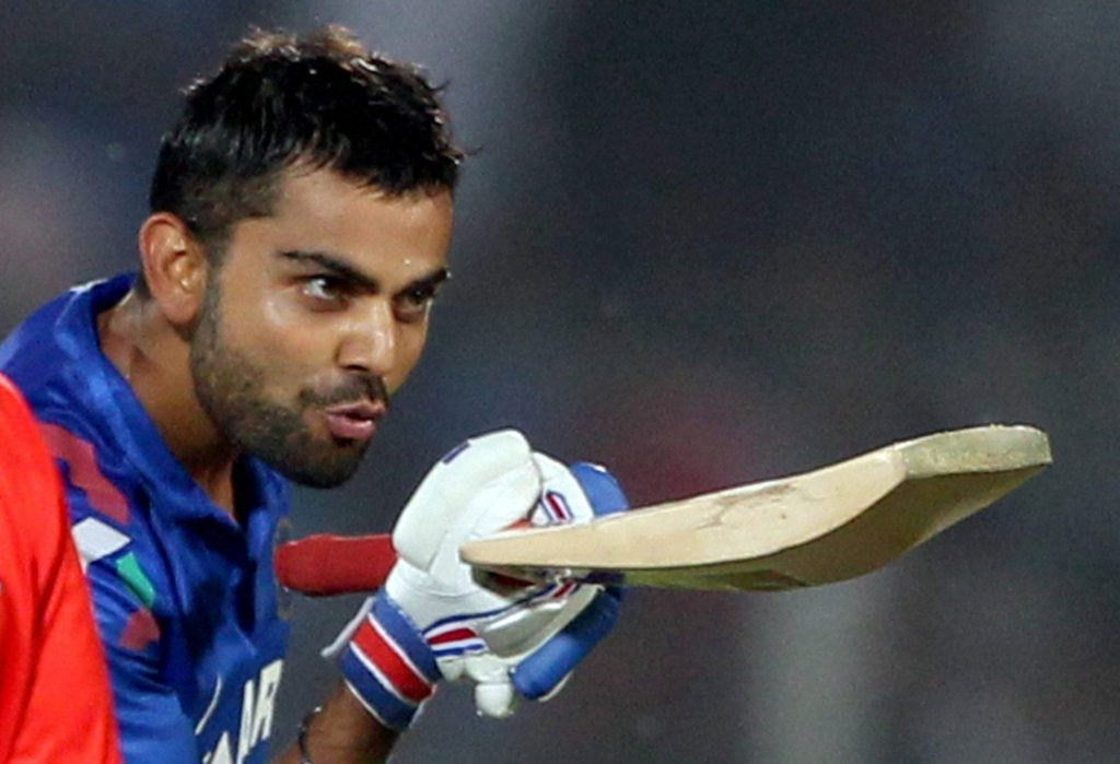 Indian Cricketer Virat Kohli Flying Kiss Pictures