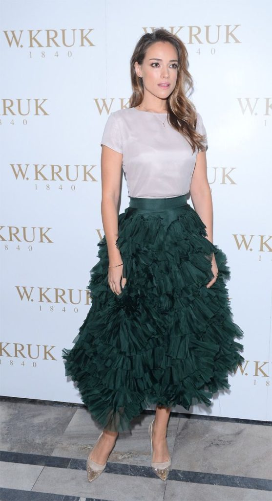 Alicja Bachleda Beautiful In Green Color Dress