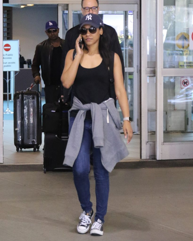 Candice Patton In Jeans Top On Airport