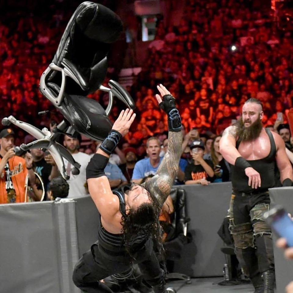 Braun Strowman Fight With Roman Reigns  With Chairs