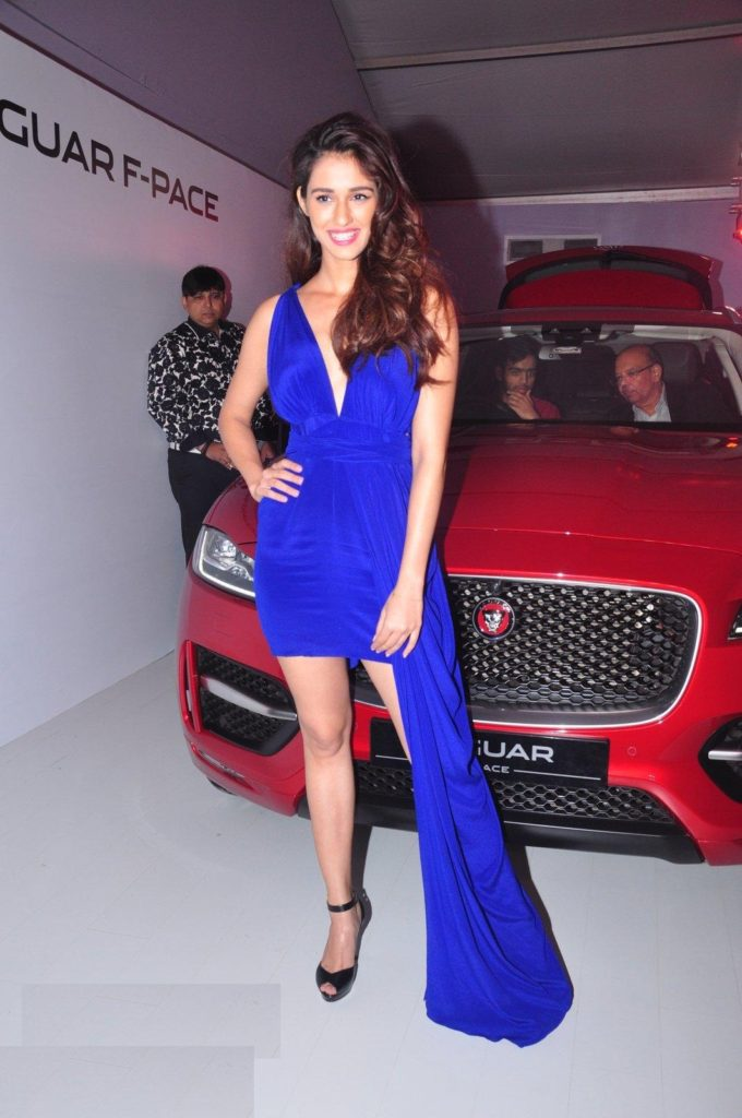 Disha Patani Beautiful Pictures In Blue Dress With Car