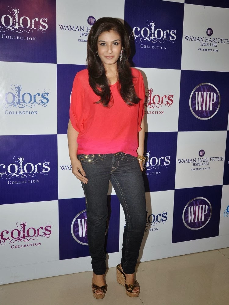 Raveena Tandon Cute Pics In Jeans Top