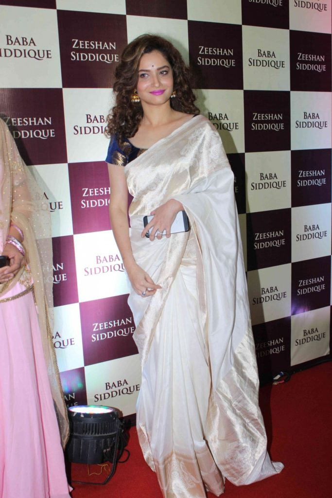 Ankita Lokhande In White Saree Pictures