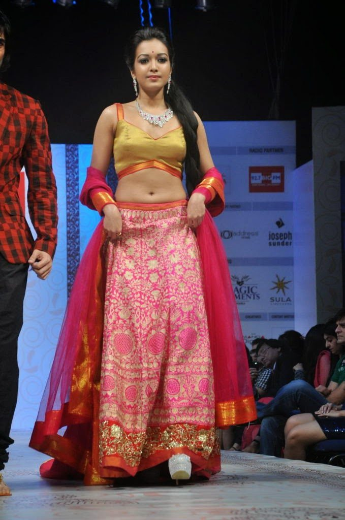 Catherine Tresa Charming Images At Rampwalk In Lehanga Choli