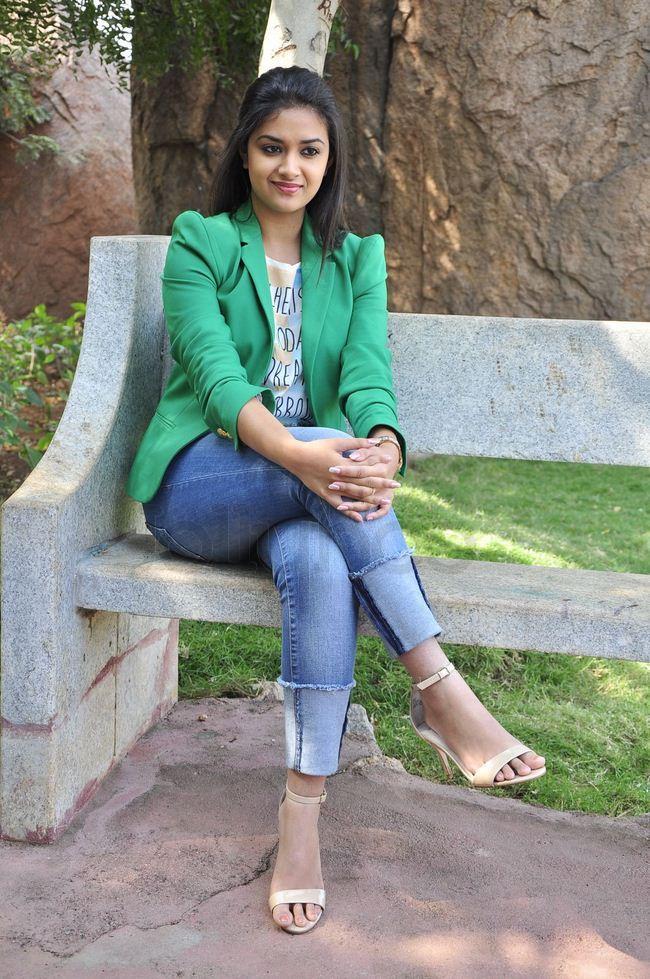 Keerthy Suresh Pics In Jeans Top