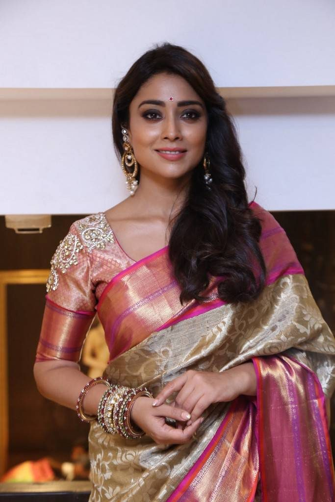 Shriya Saran In Saree Lovely Look Wallpapers
