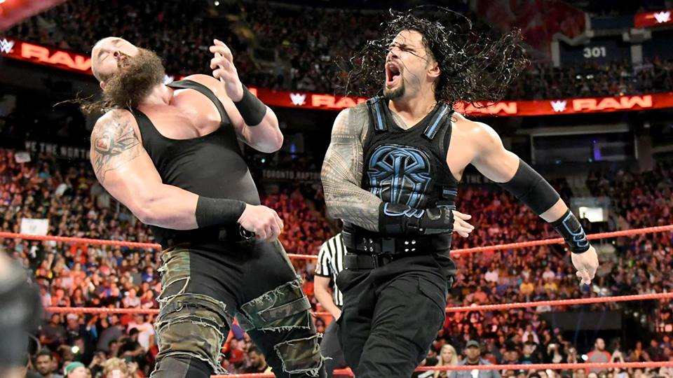 Wrestler Roman Reigns Fight With Braun Strowman HD Pictures