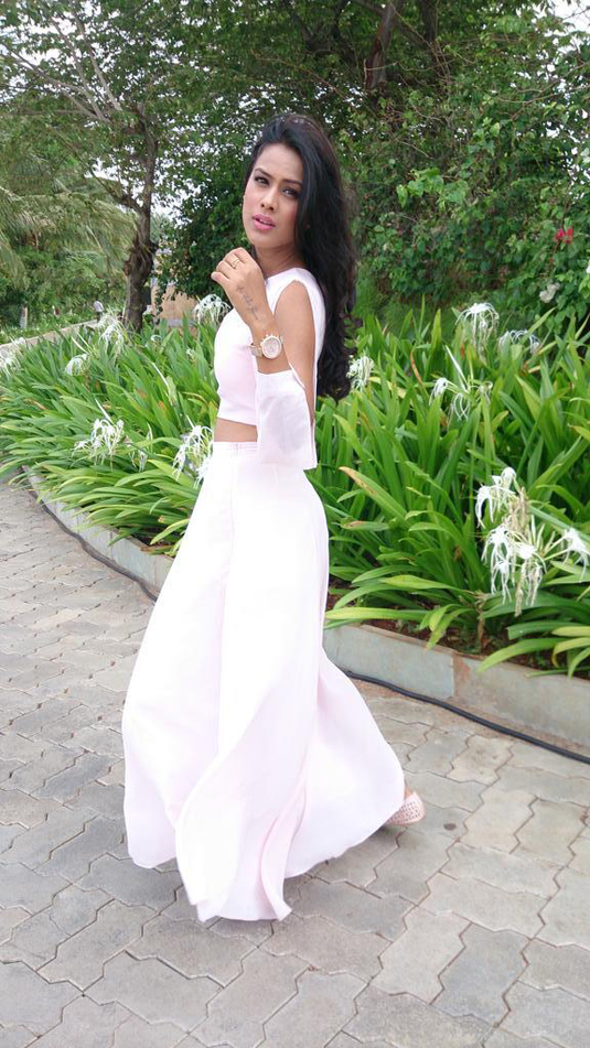Nia Sharma Pics In White Gown