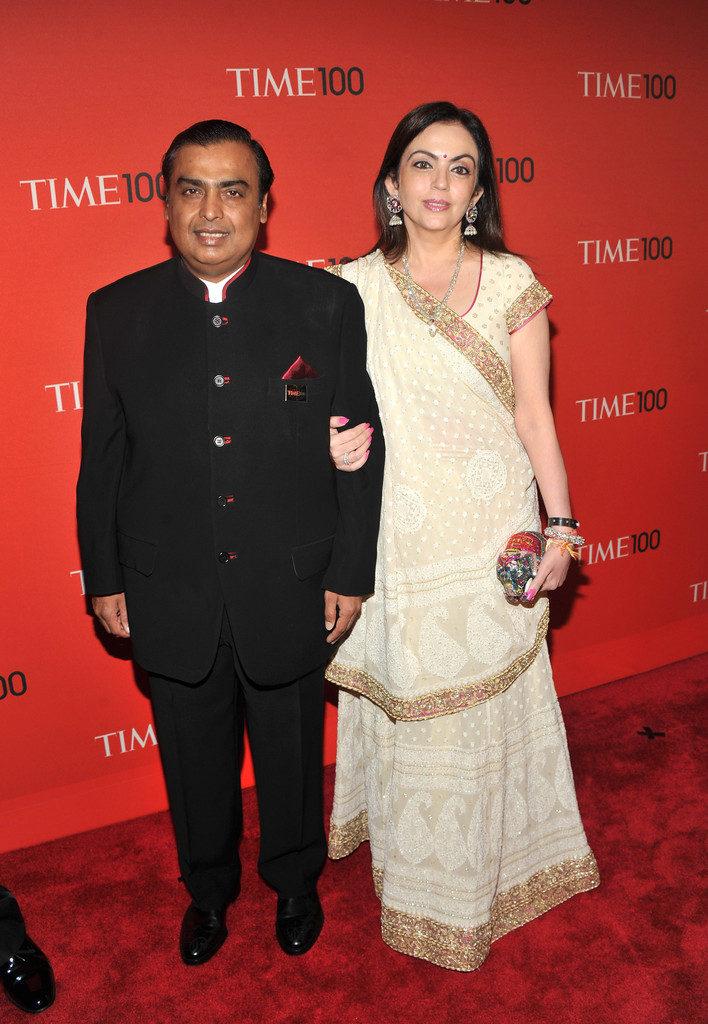 Nita Ambani Pics In Saree With Husband