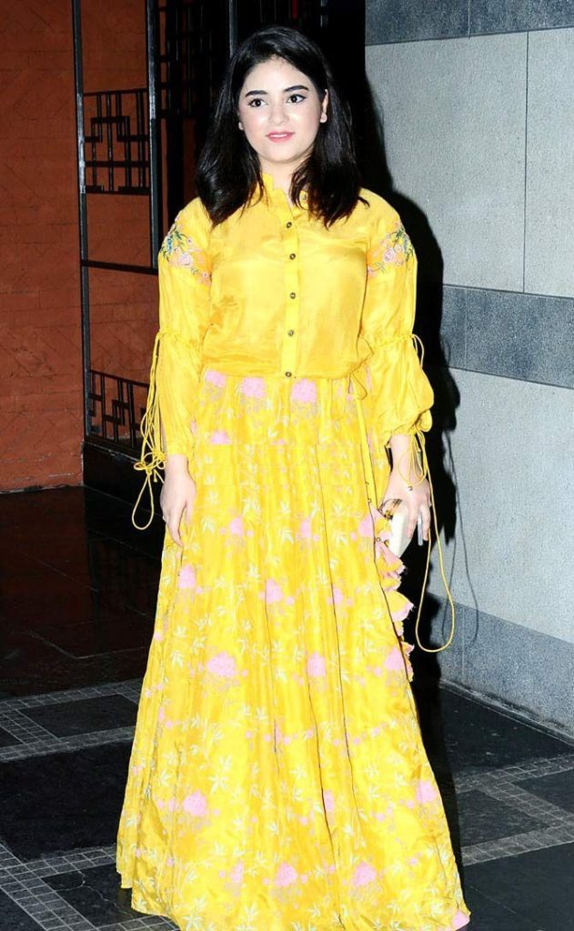Zaira Wasim Hot Images In Yellow Clothes