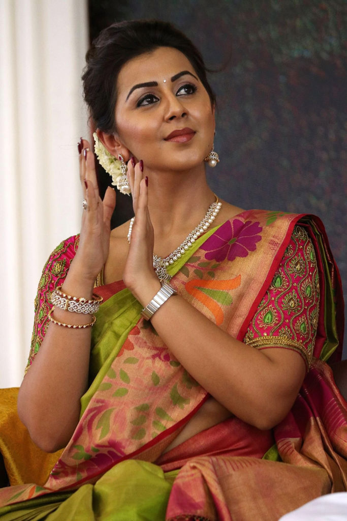 Nikki Galrani Hot Photos In Saree At Event