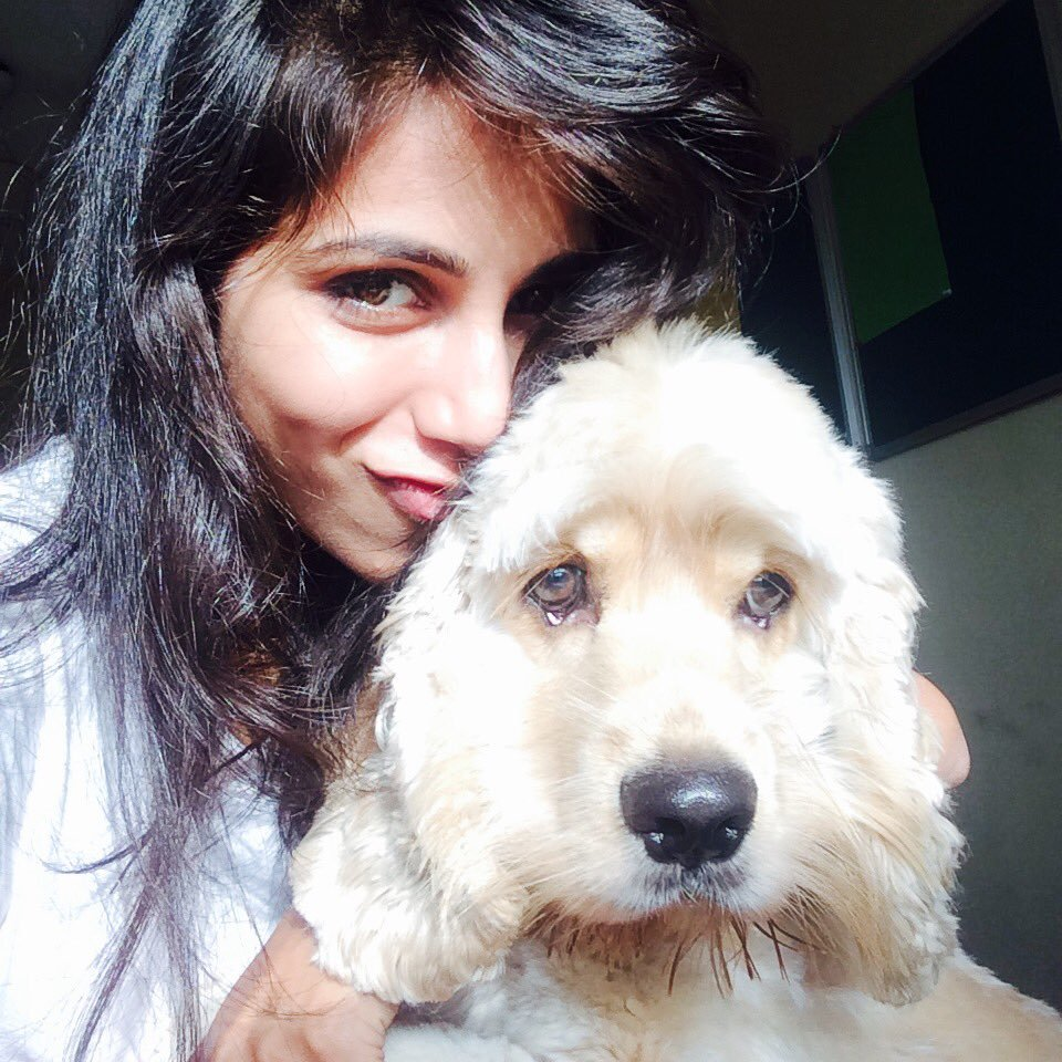Vibha Anand Sexy Selfie Pics With Dog