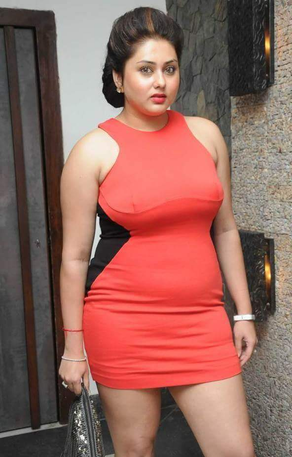Namitha Sexy Legs Pics In Red Clothes