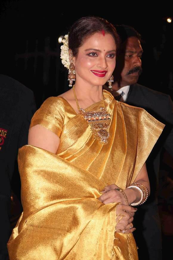 Rekha Hot Images In Yellow Saree