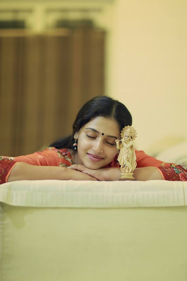 Anu Sithara Cute Pics With Lord Krishna