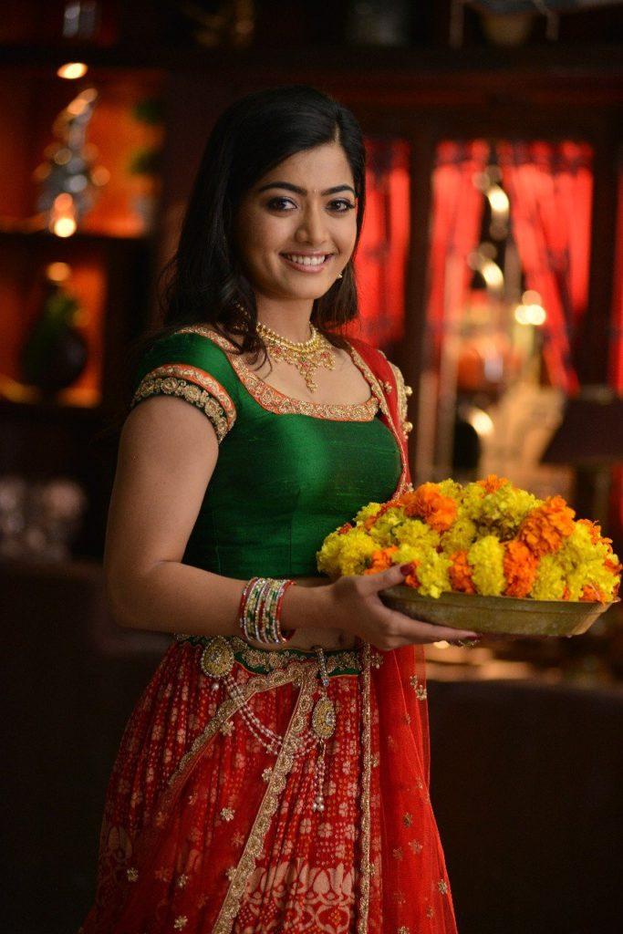 Rashmika Mandanna Cute Pics In Backless Saree