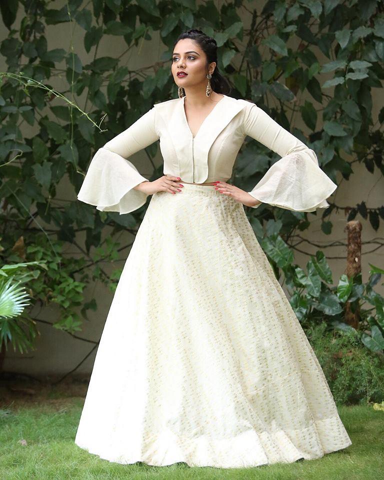 Sreemukhi Hot Images In Gown