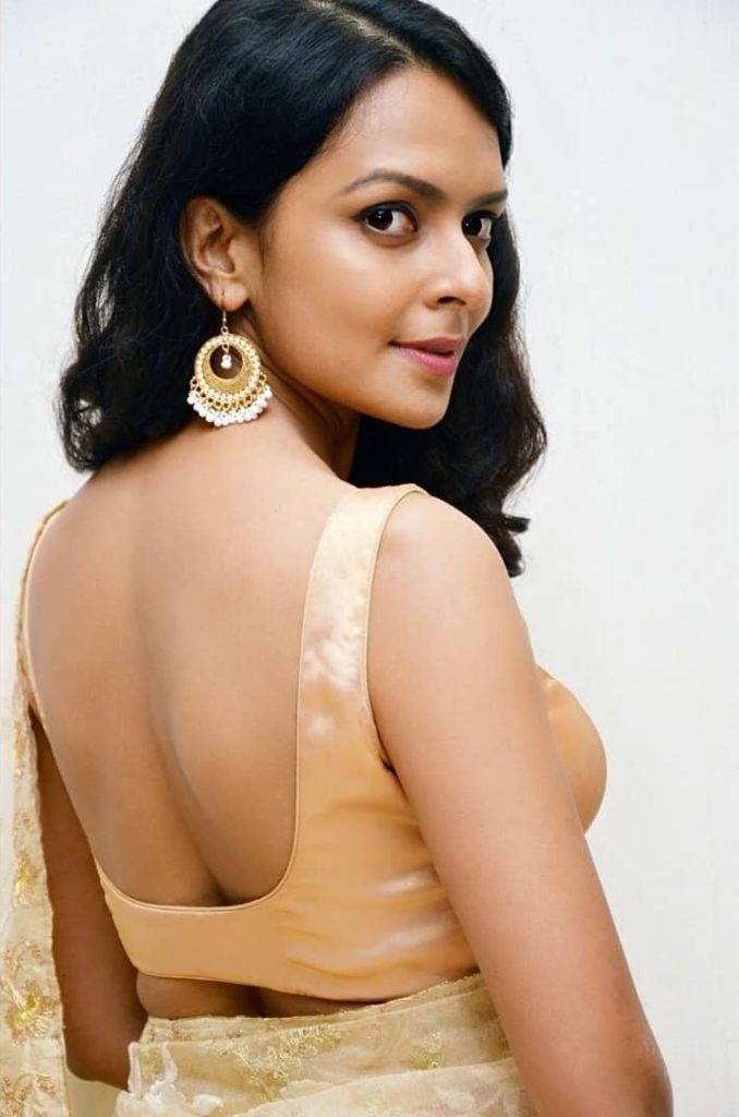 Bidita Bag In Backless Saree Images