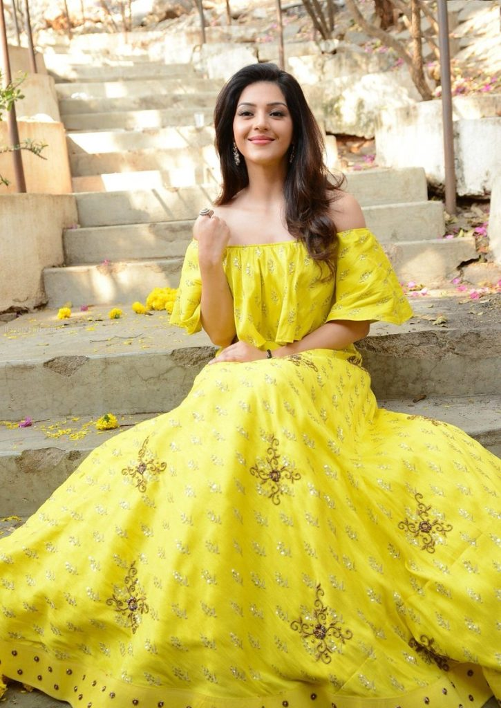 Mehreen Pirzada Hot In Yellow Clothes