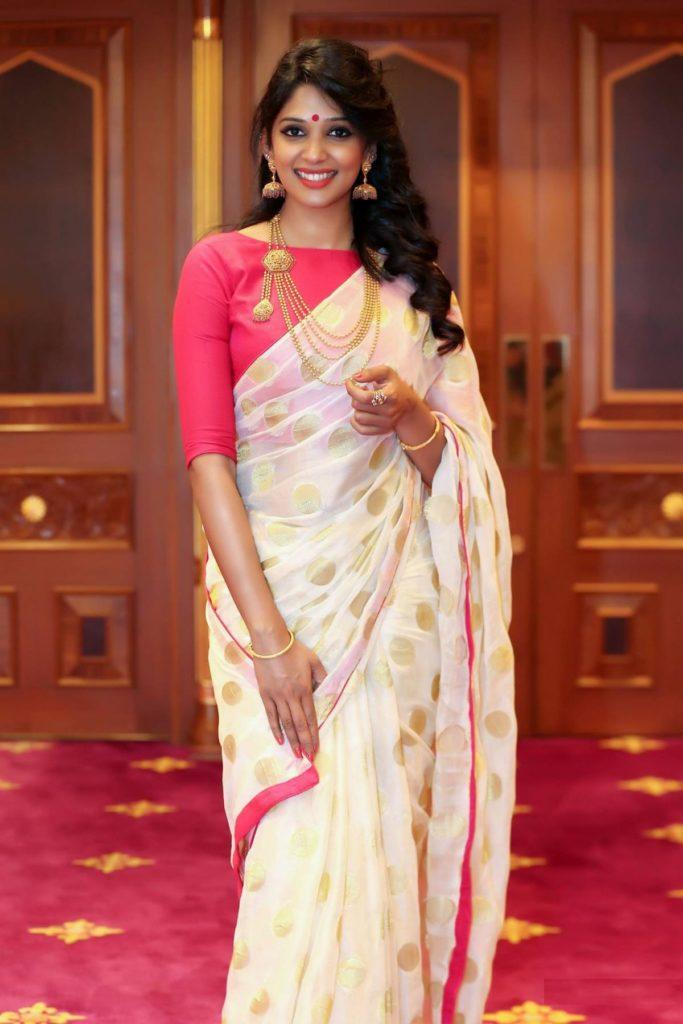 Nyla Usha In Saree Photos Gallery